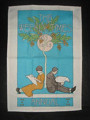 The Weekly Times Annual Tea Towel Promotional Anniversary Print 1913 - As New