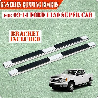 """Fit 09-14 Ford F150 Super Cab 5""""Running Board Nerf Bar Side Step Stainless Steel"""