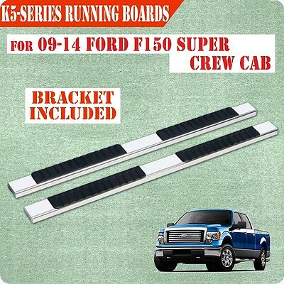 """For 09-14 Ford F150 Super Crew Cab 5"""" Running Board Nerf Bar Side Step  S/S"""