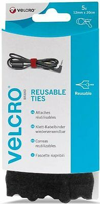6 VELCRO® Brand One Wrap Cable Ties Reusable - 12mm x 20cm - Black