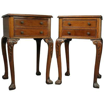Pair of Antique English Regency Carved Mahogany Two-Drawer End Stands