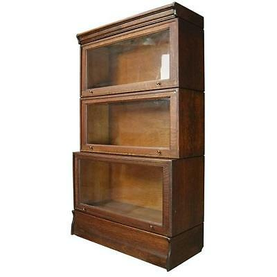 Antique English Oak Three-Section Barrister Stacked Bookcase, circa 1900