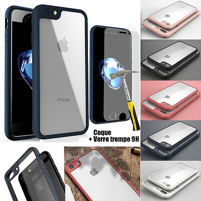 LOT COQUE HOUSSE TPU BUMPER ANTICHOCS IPHONE 6/Plus/7/8/X/SE + FILM VERRE TREMPE