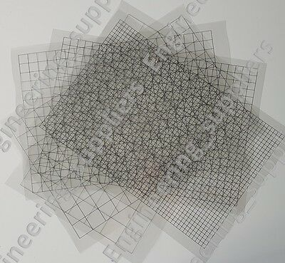 Clear A4 Squared Grid Printable Plastic Sheet 5, 10, 12.7, 20, 25mm, 1, 5, 10Pk