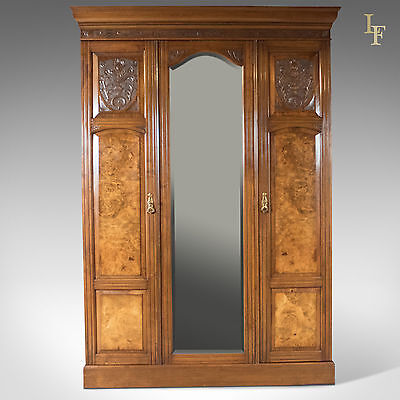 Antique Wardrobe, Victorian Mirrored Cupboard, English, Burr Walnut c.1880
