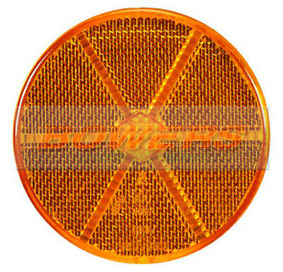 AMBER ORANGE ROUND STICK ON SELF ADHESIVE SIDE REFLECTOR 60mm TRAILER CARAVAN
