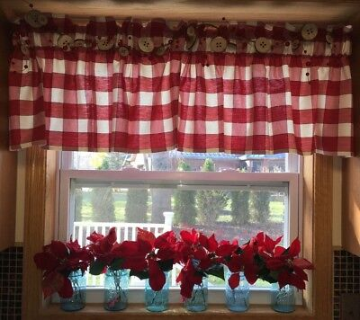 "Vintage STYLE Kitchen Curtain Valance Hand Made 36"" Red Buffalo Plaid Farmhouse"