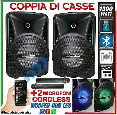 COPPIA CASSE AMPLIFICATE 1100 Watt USB Mp3 LED Bluetooth WIRELESS Radio KARAOKE