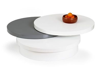 Rotated High Gloss Coffee Table White Grey Round