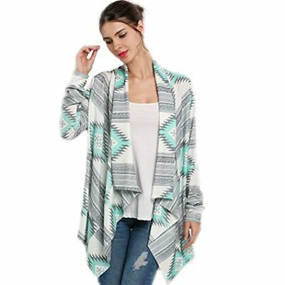 Romanstii Womens CARDIGAN Knitted Sweater Loose Jacket Coat Large Green, New