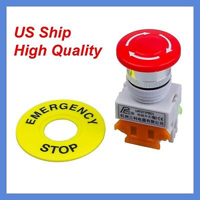 660V Self Locking CNC Mushroom Cap Emergency Stop Push Button Switch NO/NC US