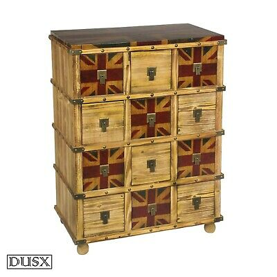 DUSX Vintage Retro Union Jack Boys Room Wooden Multidrawer Chest of 12 Drawers