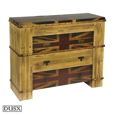 Union Jack Wooden Chest Drawers Vintage Retro Three Drawer Boys Room British UK