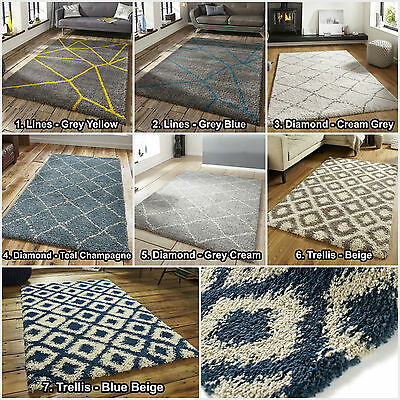 Modern Small To Large Royal Nomadic Think Rugs Thick Multi Geometric Shaggy Rugs