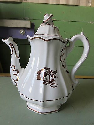 Antique Copper Lusture Tea Leaf Ironstone Teapot