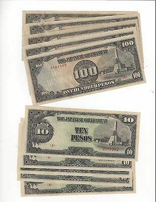Japan Occup Philippines 10 & 100 Peso 5 Pcs Of Each Consec      Nice Unc