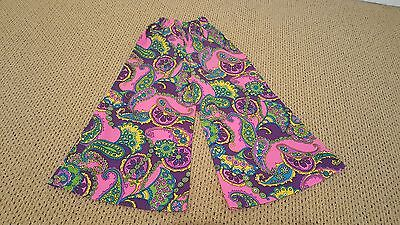 Vintage Girls Childrens Bell Bottom Pants 60s 70s Hippie Psychedelic Print