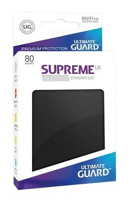 80x Supreme UX Sleeves Standard Size - Black Ultimate Guard Brand New