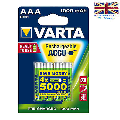 4 x VARTA AAA Ni-MH 1000mAh Ready2Use Rechargeable batteries 5703 1.2V LR03 HR03
