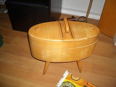 VINTAGE SEWING BOX TABLE EAMES DANISH MID CENTURY MODERN TEAK ART DECO 50s 60s