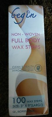 Gegin brand cloth strips for waxing 100 pack NEW measures 3x9in (no wax, strips