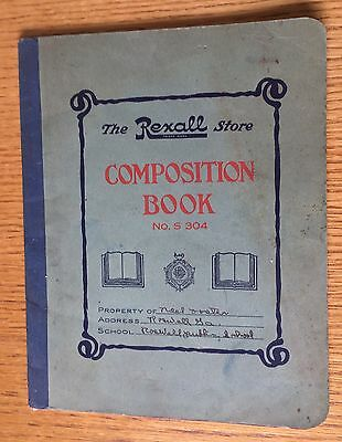 Vintage The Rexall Store Composition Book Roswell Ga w FREE SHIPPING