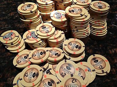 100 Foxwoods mint redeemable cash value $2 chips, Foxwoods MGM.