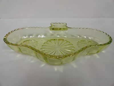 Canary Yellow Vaseline Glass EAPG Candy Dish Clover or Spade Pattern