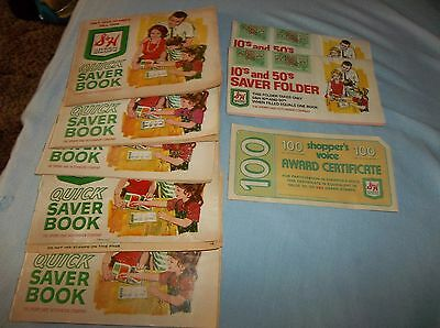 7 Full Vintage S & H Green Stamp Booklets and Extra Certificate