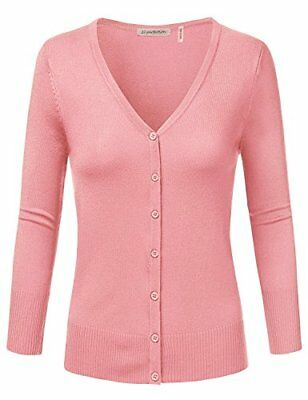 JJ Perfection Women's 3/4 Sleeve V-Neck Button Down Knit Cardigan Sweater PINK 2