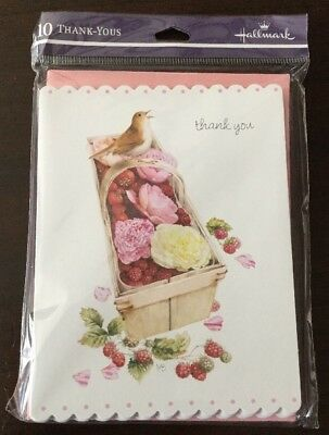 Hallmark Thank You Cards (Qty10) Natures Sketchbook Cards With Bird Nature Scene
