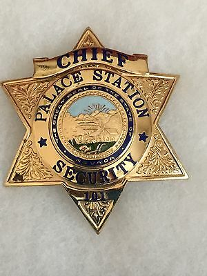 Obsolete Chief Palace Station Hotel Casino Security Chief  Badge 6 Point Star