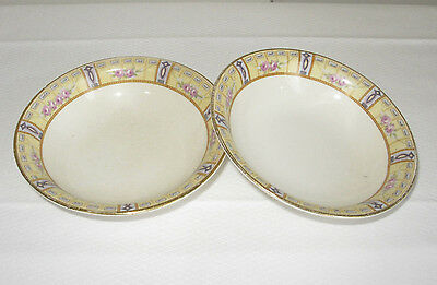 "Vintage Derwood W.s.george 5.25"" Bowls 185A Lot Of 2 Floral Roses Dainty Saucers"