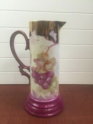 """Antique-Vintage Tankard Pitcher with Hand Painted Grapes, 13"""" Tall K Liem Feb.84"""