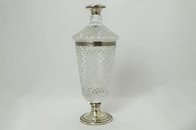 Large Italian cut crystal and silver urn