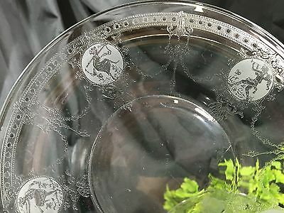 6 Antique Heisey Pied Piper Etched Glass Mythology Figures 6 Dessert Plate