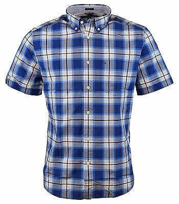 NEW Tommy Hilfiger Men's Short Sleeve Classic Fit Button-Down Shirt DIAMOND BLUE
