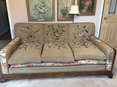 Gorgeous 1920'S 3 Piece Suite, Beautiful Floral Needlepoint On Each Panel! Sofa!