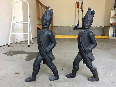 """Pair of Hessian Soldier Andirons Each 20"""" high and 18 pounds"""