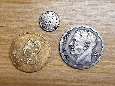 3 pcs Adolf Hitler Third Reich Nazi coin lot x 3 Coins WW2 WWII German Germany