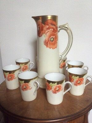 Antique Handpainted Signed By Artist Gold Red Green Poppy Flowers Tankard 8 Cups