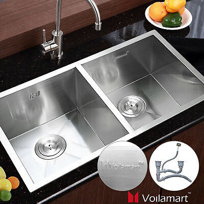 """30"""" x18"""" Commercial Stainless Steel Kitchen Sink Double Bowl Undermount 19 Gauge"""