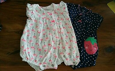 Carters Newborn Girl clothes lot NWOT summer rompers