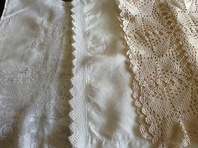 Lot of 3 lace dresser scarfs/table runners - good condition