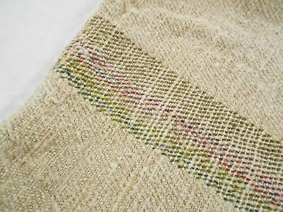 Vtg Antique GREEN ORANGE STRIPE Upholstery HEMP LINEN Fabric FEED SACK GRAIN BAG