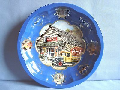 """Coca Cola Tin Serving Bowl Rare """"smith's Grocery & Vintage Truck"""" Royal Blue"""