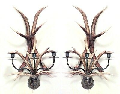 Pair of Rustic Style Horn and Patinated Brass 3 Arm Wall Sconces
