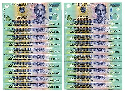 20 MILLION DONG = 40 x 500,000 500000 VIETNAM POLYMER CURRENCY BANKNOTES UNC