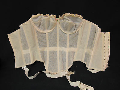 Vintage 40's Lingerie Lace Merry Widow Cinch Corset Tiny Waist Bra w/Orig BOX