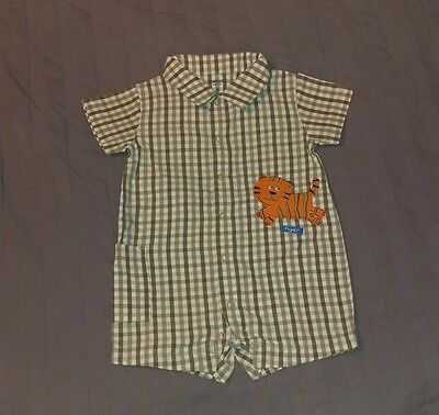 EUC Carters Baby Boy Clothes 6 Months One Piece Short Sleeve Plaid Tiger Romper